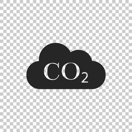 Emisje CO2 w ikonie chmury na przezroczystym tle. Symbol formuły dwutlenku węgla, koncepcja zanieczyszczenia smogiem, koncepcja środowiska, produkty spalania. Płaska konstrukcja. Ilustracja wektorowa