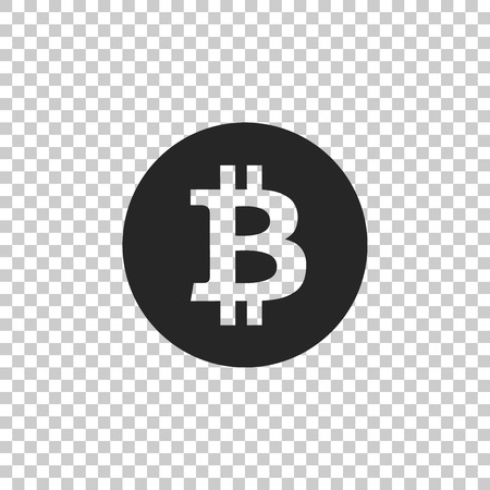 Cryptocurrency coin Bitcoin icon isolated on transparent background. Bitcoin for internet money. Physical bit coin. Digital currency. Blockchain based secure crypto currency. Vector Illustration