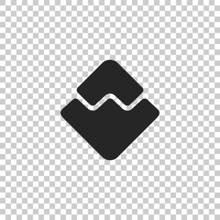 Cryptocurrency coin Waves icon isolated on transparent background. Physical bit coin. Digital currency. Altcoin symbol. Blockchain based secure crypto currency. Flat design. Vector Illustration