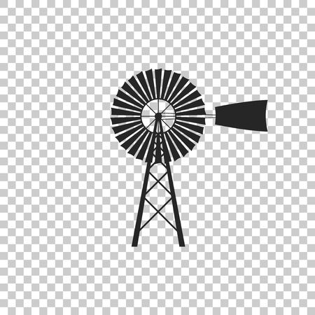 Icono de molino de viento aislado sobre fondo transparente. Diseño plano. Ilustración vectorial Ilustración de vector