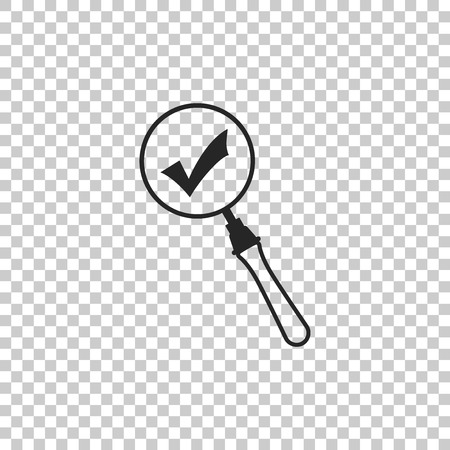 Magnifying glass and check mark icon isolated on transparent background. Magnifying glass and approved, confirm, done, tick, completed symbol. Flat design. Vector Illustration