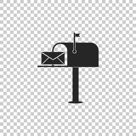 Open mail box with an envelope icon isolated on transparent background. Flat design. Vector Illustration Çizim