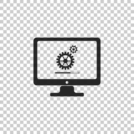 Monitor update process with gearbox progress and loading bar icon isolated on transparent background. Computer display. System software update. Loading process in monitor screen. Vector Illustration