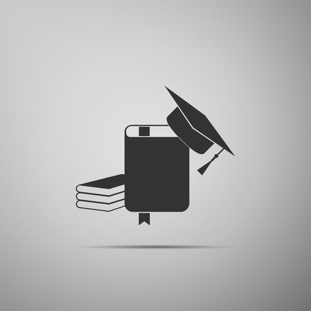 Graduation cap and book icon isolated on grey background. Flat design. Vector Illustration Illustration