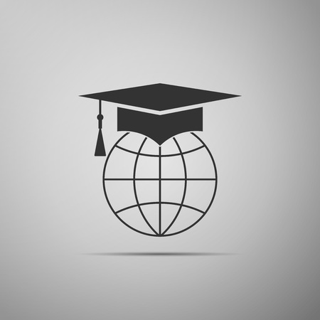 Graduation cap on globe icon isolated on grey background. World education symbol. Online learning or e-learning concept. Flat design. Vector Illustration