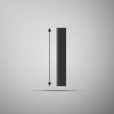 The measuring height and length icon isolated on grey background. Ruler, straightedge, scale symbol. Flat design. Vector Illustration