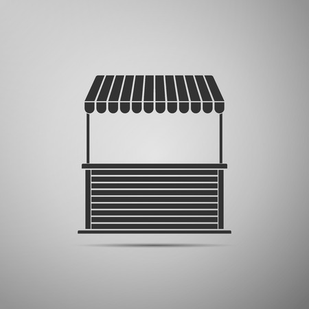 Street stall with awning and wooden rack icon isolated on grey background. Kiosk with wooden rack. Flat design. Vector Illustration