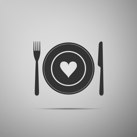 Heart on plate, fork and knife icon isolated on grey background. Happy Valentines day. Flat design. Vector Illustration  イラスト・ベクター素材