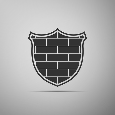 Shield with cyber security brick wall icon isolated on grey background. Data protection symbol. Firewall logo. Network protection. Flat design. Vector Illustration Banque d'images - 124965742