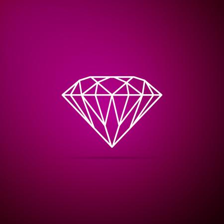 Diamond sign isolated on purple background. Jewelry symbol. Gem stone. Flat design. Vector Illustration