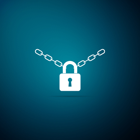 Metal chain and lock icon isolated on blue background. Padlock and steel chain. Flat design. Vector Illustration