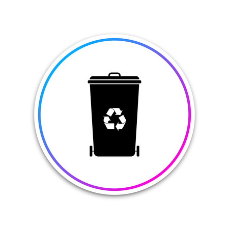 Recycle bin with recycle symbol icon isolated on white background. Trash can icon. Garbage bin sign. Recycle basket icon. Circle white button. Vector Illustration Illustration