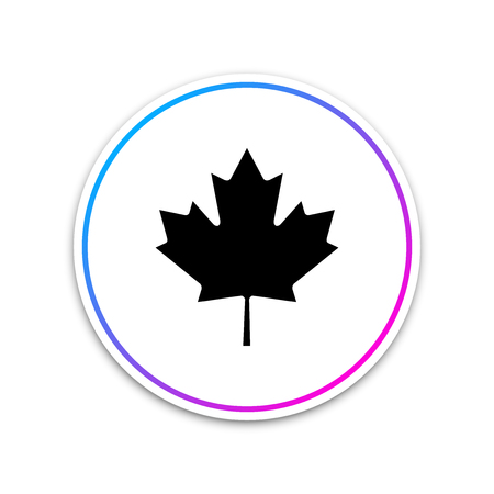 Canadian maple leaf icon isolated on white background. Canada symbol maple leaf. Circle white button. Vector Illustration