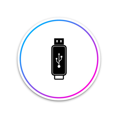 USB flash drive icon isolated on white background. Circle white button. Vector Illustration