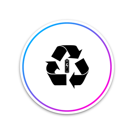 Battery with recycle symbol - renewable energy concept icon isolated on white background. Circle white button. Vector Illustration