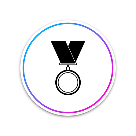 Medal icon isolated on white background. Winner symbol. Circle white button. Vector Illustration Illustration