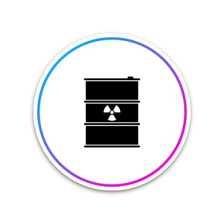 Radioactive waste in barrel icon isolated on white background. Toxic refuse keg. Radioactive garbage emissions, environmental pollution, danger of ecological disaster. Vector Illustration