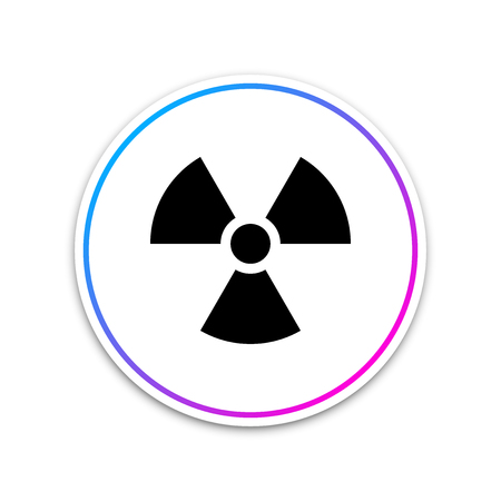 Radioactive icon isolated on white background. Radioactive toxic symbol. Radiation Hazard sign. Circle white button. Vector Illustration Reklamní fotografie - 124290939