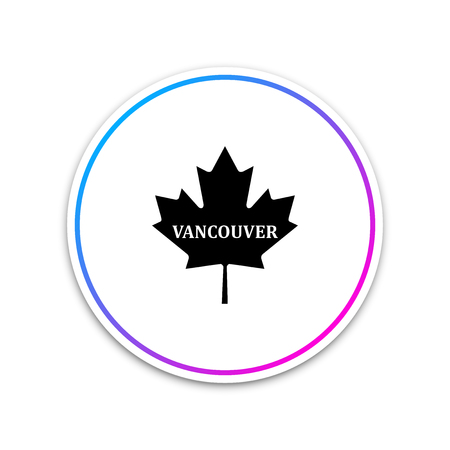 Canadian maple leaf with city name Vancouver icon isolated on white background. Circle white button. Vector Illustration