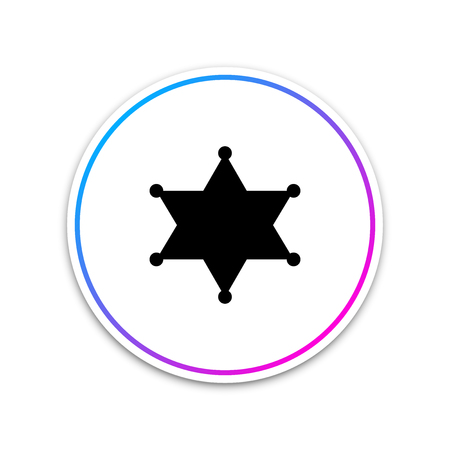 Hexagram sheriff icon isolated on white background. Circle white button. Vector Illustration