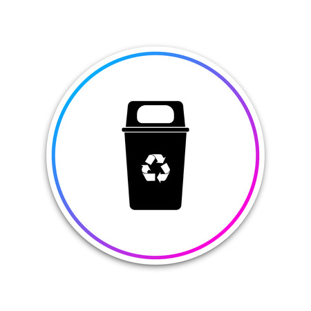 Recycle bin with recycle symbol icon isolated on white background. Trash can icon. Circle white button. Vector Illustration Illustration