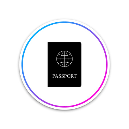 Passport icon isolated on white background. Circle white button. Vector Illustration