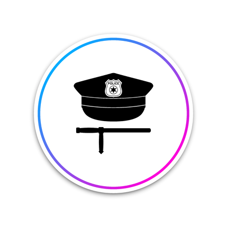 Police cap and rubber baton icon isolated on white background. Security truncheons. Police stick. Policeman uniform. Circle white button. Vector Illustration