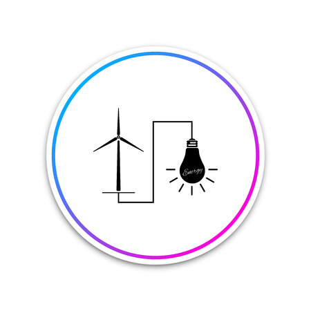 Wind mill turbine generating power energy and glowing light bulb icon isolated on white background. Natural renewable energy production using wind mills. Circle white button. Vector Illustration