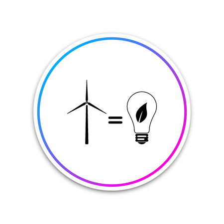 Wind turbine and light bulb with leaves as idea of eco-friendly source of energy icon isolated on white background. Circle white button. Vector Illustration