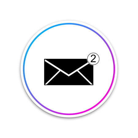 Envelope icon isolated on white background. Received message concept. New, email incoming message, sms. Mail delivery service. Circle white button. Vector Illustration