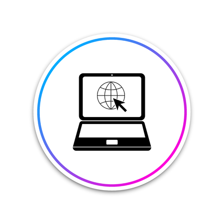 Website on laptop screen icon isolated on white background. Laptop with globe and cursor. World wide web symbol. Circle white button. Vector Illustration