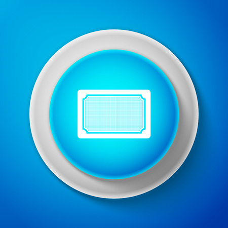 Doormat icon isolated on blue background. Welcome mat sign. Circle blue button. Vector Illustration