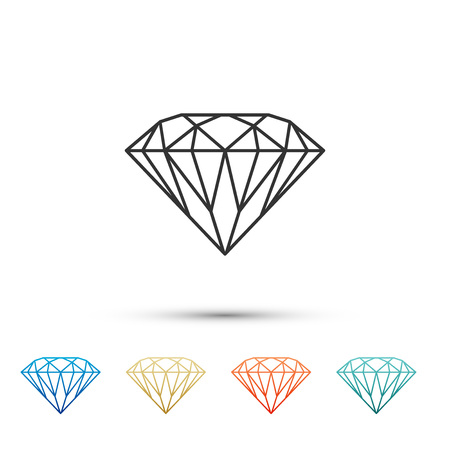 Diamond sign isolated on white background. Jewelry symbol. Gem stone. Set elements in color icons. Vector Illustration
