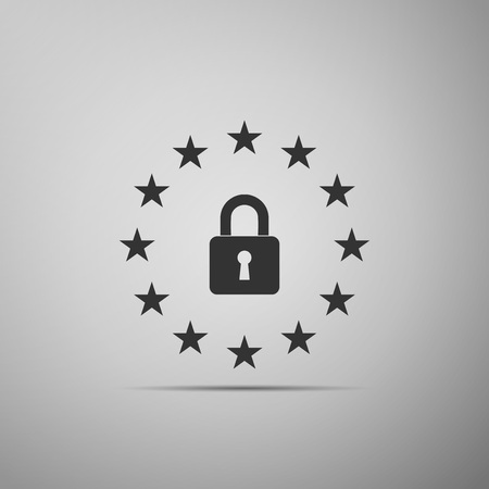GDPR - General data protection regulation icon isolated on grey background. European Union symbol. Security, safety, protection, privacy concept. Flat design. Vector Illustration