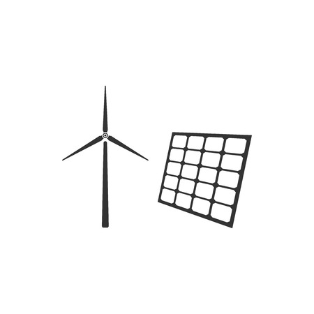 Wind mill turbines generating electricity and solar panel icon isolated. Energy alternative, concept of renewable energy. Flat design. Vector Illustration