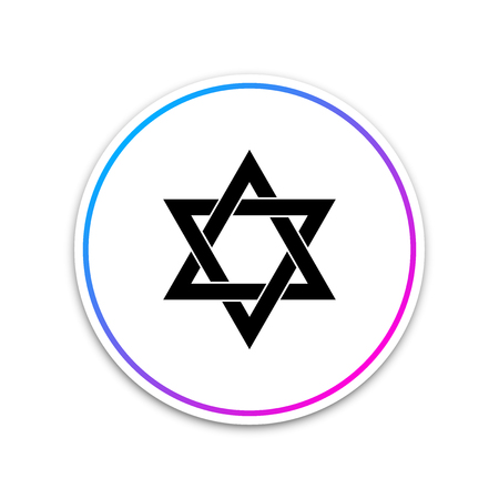 Star of David icon isolated on white background. Circle white button. Vector Illustration