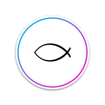 Christian fish symbol icon isolated on white background. Jesus fish symbol. Circle white button. Vector Illustration