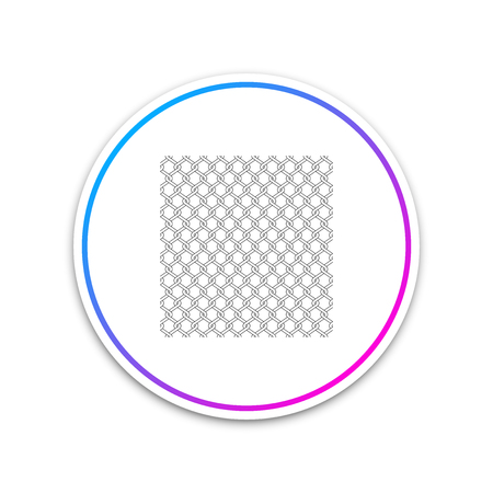 Chain Fence icon isolated on white background. Metallic wire mesh pattern. Circle white button. Vector Illustration Ilustração