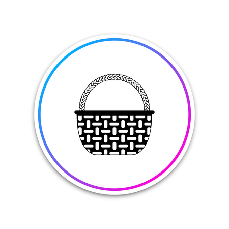 Wicker basket icon isolated on white background. Circle white button. Vector Illustration