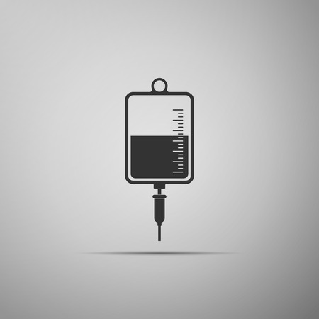IV bag icon isolated on grey background. Blood bag icon. Donate blood concept. The concept of treatment and therapy, chemotherapy. Flat design. Vector Illustration Illustration