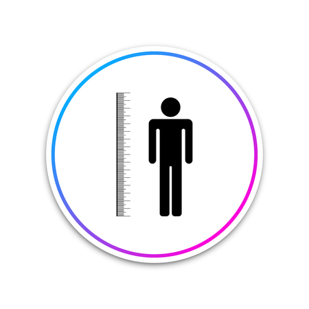Measuring height body icon isolated on white background. Circle white button. Vector Illustration Ilustracja