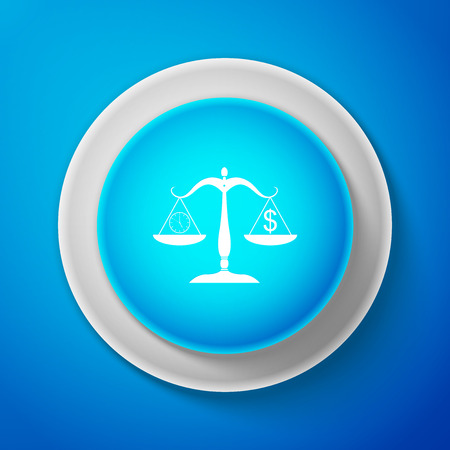 Scale weighing money and time icon isolated on blue background. Scales with hours and a coin. Balance between work and the given time. Business concept. Circle blue button. Vector Illustration  イラスト・ベクター素材