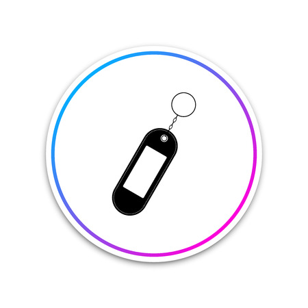 Key chain icon isolated on white background. Blank rectangular keychain with ring and chain for key. Circle white button. Vector Illustration Archivio Fotografico - 123987424