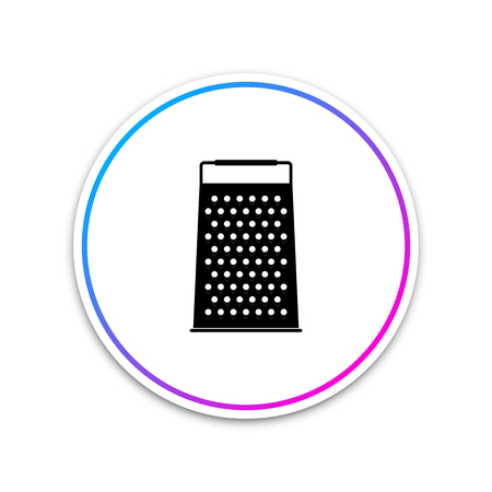 Grater icon isolated on white background. Kitchen symbol. Circle white button. Vector Illustration