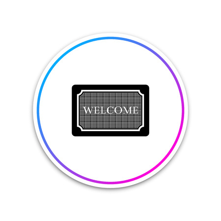 Doormat with the text Welcome icon isolated on white background. Welcome mat sign. Circle white button. Vector Illustration Ilustração