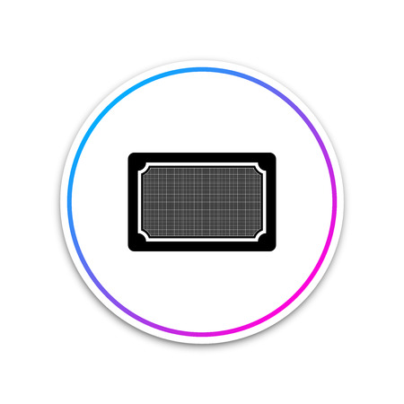 Doormat icon isolated on white background. Welcome mat sign. Circle white button. Vector Illustration