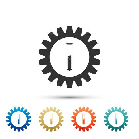 Zahnrad- und Reagenzglas-Symbol auf weißem Hintergrund. Konzept der chemischen Industrie. Zahnrad und Flaschenzeichen. Experimentieren Sie Laborglas chemisches Forschungssymbol. Legen Sie Elemente in Farbsymbolen fest. Vektorillustration Vektorgrafik