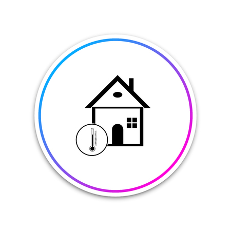 House temperature icon isolated on white background. Thermometer icon. Circle white button. Vector Illustration