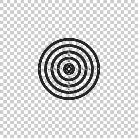 Target sport for shooting competition icon isolated on transparent background. Clean target with numbers for shooting range or pistol shooting. Flat design. Vector Illustration Illustration