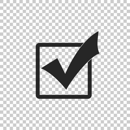 Check mark in a box icon isolated on transparent background. Tick symbol. Check list button sign. Flat design. Vector Illustration